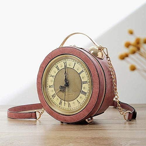 ハンドバッグ - 新レディースバッグハンドバッグメッセンジャーバッグ時計バッグファッション女性個別チェーン小さな丸いベル形ガール、ブラック/ブラウン/ピンク よくできた (Color : Pink)