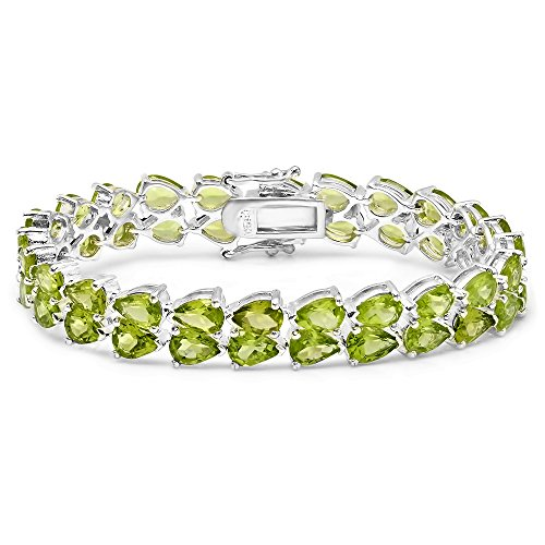 Pear Peridot Bracelet - Dazzlingrock Collection 33.00 Carat (ctw) Sterling Silver Real Pear Cut Genuine Peridot Ladies Tennis Bracelet
