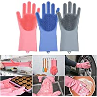 Jolly Gloves Magic Dishwashing Gloves with Scrubber, Silicone Cleaning Reusable Scrub Gloves for Wash Dish,Kitchen, Bathroom (Grey)
