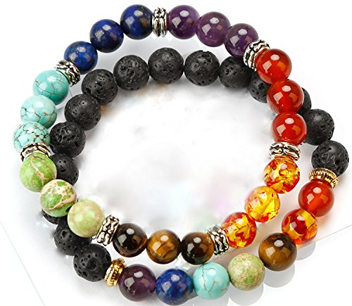 (HoodaSpa 2 Pack Chakra and Lava Bracelets by 7 Chakra and Diffusible Lava Stone and tiger eye,dyed lapis lazuli Bracelets - Natural Stone for Healing, Relaxation and Energy)