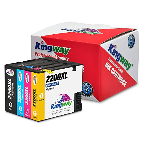 Kingway Compatible Ink Cartridge Replacement for PGI-2200XL Work with Maxify MB5020 iB4120 MB5320 MB5420 MB5120 iB4020 Printer 4 Pack(1 Black,1 Cyan,1 Magenta,1 Yellow,with Pigment Ink) ()