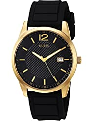 GUESS Mens Stainless Steel Casual Silicone Watch, Color: Black/Gold-Tone (Model: U0991G2)