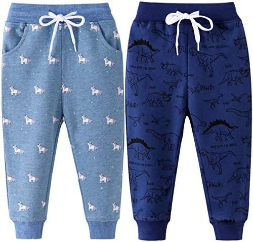 REWANGOING 2 Pack of Little Boys Girls Cartoon Print Drawstring Elastic Sweatpants Sport Jogger
