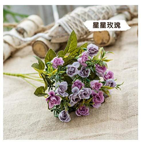 (JIAHUAHUHH Single Bundle of European Artificial Flowers, Fake Flowers, Single Decorative Silk Flowers,Star Rose Purple,30cm)