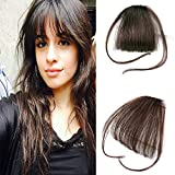 Human Hair One Piece Straight Clip in Hair Extensions Flat Air Fringe Front Bangs with Hair Temples #4 Dark Brown