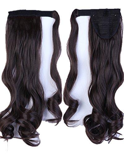 "Fashion Lady 17"" Curly Dark Brown Wrap Around Ponytail Clip"