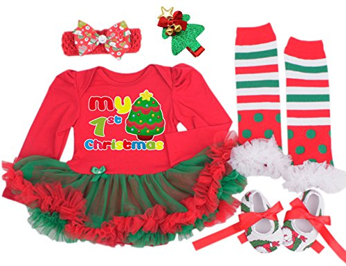 [Baby Girls Christmas Outfit Tutu Dress Leggings Hairband Hair Clips Shoes (5Pcs) Medium] (Christmas Outfits Baby)