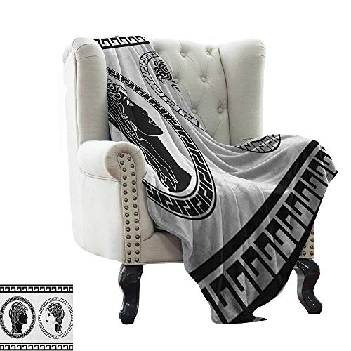 Weighted Blanket Toga Party,Roman Aristocrat Woman Profiles Circular Classical Frames Hairstyle Beauty, Black White Sofa Super Soft, Plush, Fuzzy Microfiber Throw Reversible,Comfy 50