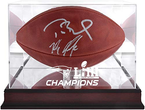(Tom Brady & Rob Gronkowski New England Patriots Dual-Signed Duke Football with Mahogany Base Super Bowl LIII Football Display Case - TRISTAR - Fanatics Authentic Certified)