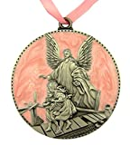 Pewter and Enamel Crib Medal with Guardian Angel for Baby Nursery Decor, 3 Inch (Pink)