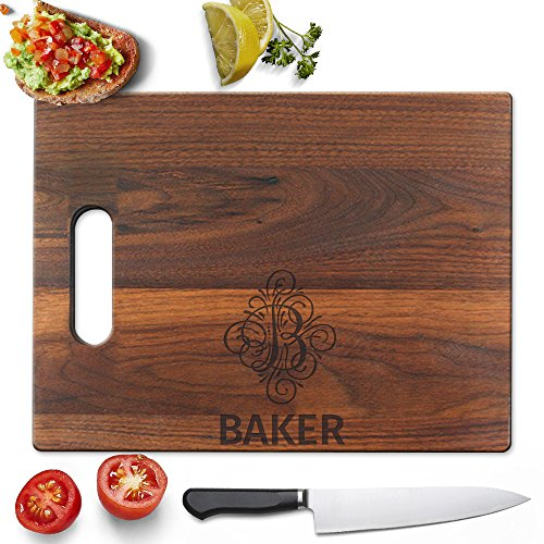 Froolu Classy Vintage Monogram engraved wooden chopping boards for Name & Initial Engraved Christmas Gifts