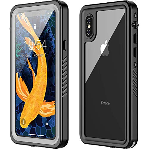 iPhone X Waterproof Case,iPhone Xs Waterproof Case. Oterkin Full Body Rugged 360° Protective Shockproof Dirtproof Sandproof IP68 Underwater Waterproof Case for iPhone X/iPhone Xs(5.8) (Black/Clear)