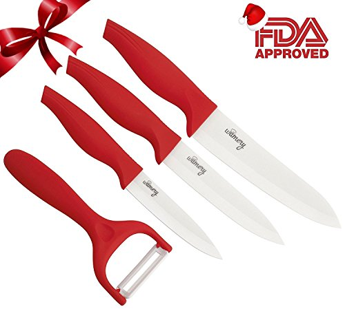RED Ceramic Knives 4 pieces set. Professional knive and peeler utensils. Ultralight, Ultrasharp and Long Resistance, Durable. Ergonomic design. Perfect for veggies and meat chef. FDA