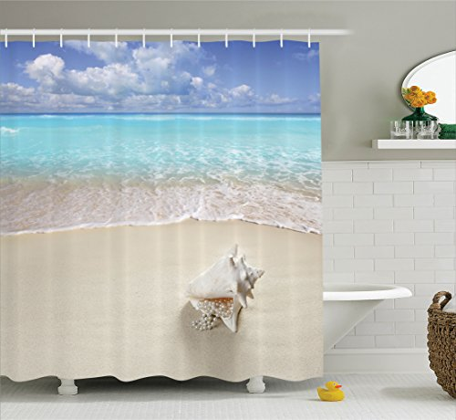 Genuine Seashell Pearl Necklace (Ambesonne Seashells Decor Collection, Beach Sand Pearl Necklace Shell Summer Holiday Horizon Caribbean Tropical Coast Image, Polyester Fabric Bathroom Shower Curtain, 75 Inches Long, Blue Ivory)