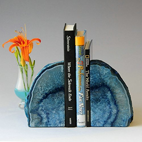 Jic Gem Polished Dyed Blue Agate Bookend(S)   1 Pair   6 To 8 Lbs by Jic Gem