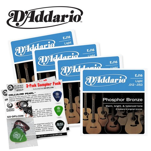DAddario EJ16 4PK Acoustic Guitar Parts product image