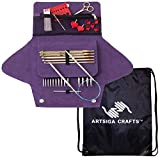 addi Knitting Needle Click Grab N Go Interchangeable Circular System White-Bronze Finish Skacel Exclusive Blue Cords Bundle with 1 Artsiga Crafts Project Bag