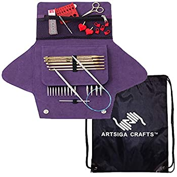Image of Knitting Needles addi Knitting Needles Click Grab N Go Interchangeable Circular System White-Bronze Finish Skacel Exclusive Blue Cords Bundle with 1 Artsiga Crafts Project Bag