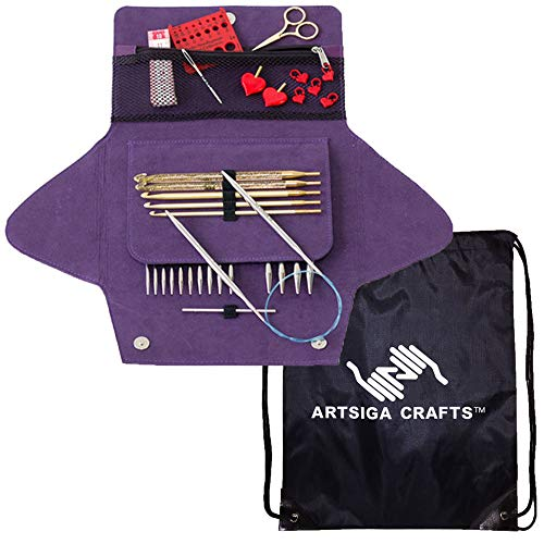 addi Knitting Needle Click Grab N Go Interchangeable Circular System White-Bronze Finish Exclusive Blue Cords Bundle with 1 Artsiga Crafts Project Bag ()
