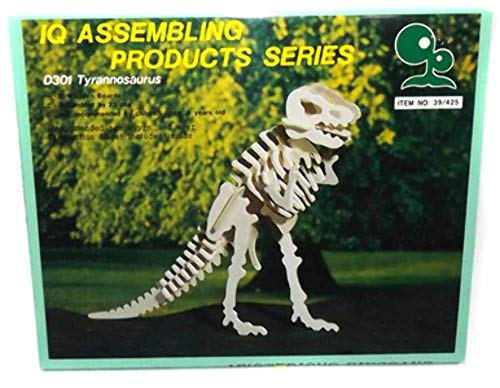 Vintage NOS IQ Assembling Products D301 Tyrannosaurus T-Rex 3D Wood Dinosaur Puzzle Toy Model Kit ()