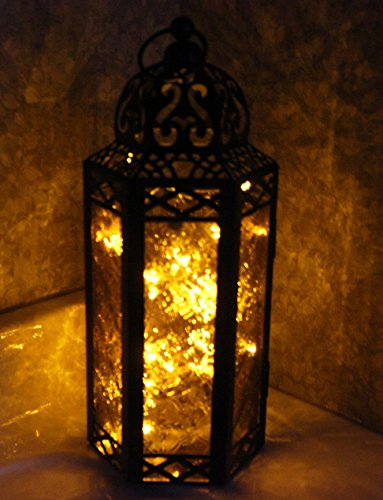Amber Glass Moroccan Style Lantern with optional matching LED Fairy String Lights (Outdoor Lighting Lantern Style)