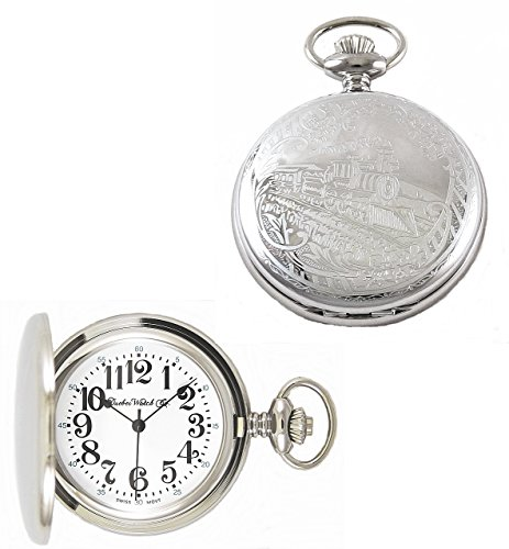 Dueber Watch Co Swiss Steel Hunting Case Pocket Watch with Locomotive Railroad Design - Swiss Design Watch