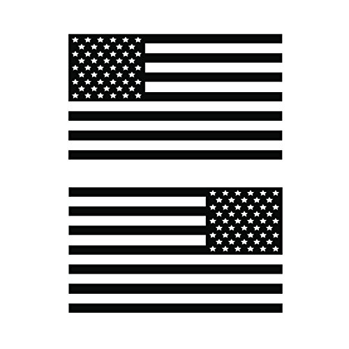 USA Subdued Single Color American Flag 50 Stars 2 Vinyl Die-Cut Decals - Includes Standard and Reversed Designs - Small - Black ()