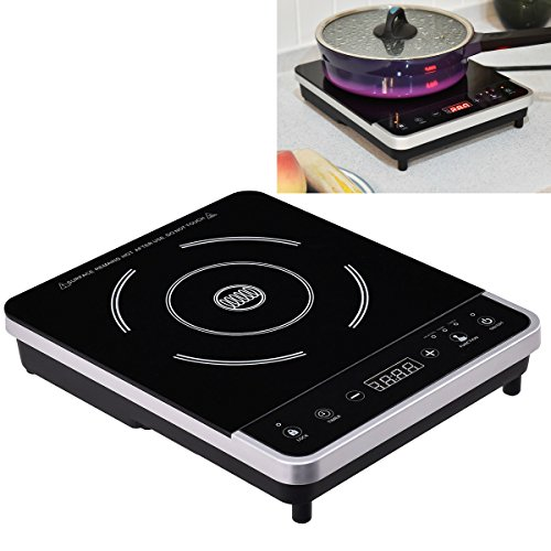1800W Portable Digital Electric Induction Countertop Cooktop Single Burner Hob Touch-screen Control Quick Heat Up