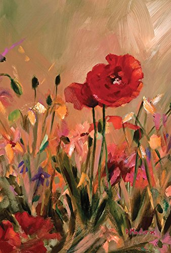 Toland Home Garden Oil Pastel Poppy 12.5 x 18 Inch Decorative Painted Red Flower Artistic Spring Garden Flag