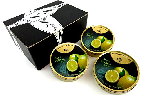 Cavendish & Harvey Sour Lemon Drops, 5.3 oz Tins in a BlackTie Box (Pack of 3) -