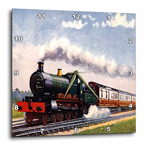 3dRose dpp_4794_3 Steam Train Wall Clock, 15 by 15-Inch (Plate Train Steam)