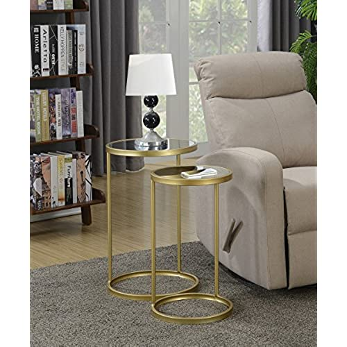 Convenience Concepts Coast Collection Round Nesting Mirror End Tables,  Antique Gold - Antique Mirrored Tables: Amazon.com