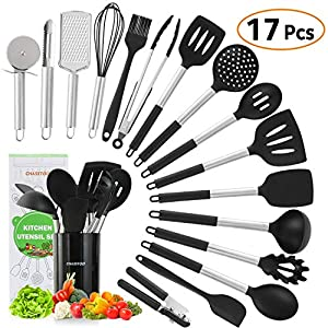Silicone Kitchen Cooking Utensils Set, 17 Pcs Kitchen Utensils Set, Nonstick Rubber Heat Resistant Silicone, Kitchen… 7