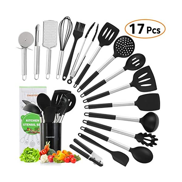 Silicone Kitchen Cooking Utensils Set, 17 Pcs Kitchen Utensils Set, Nonstick Rubber Heat Resistant Silicone, Kitchen… 1