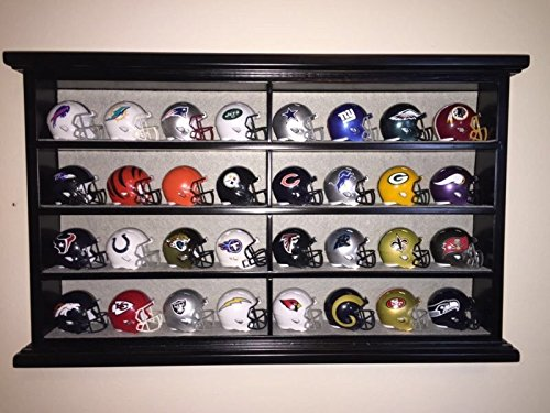 Wood Helmet (32 Piece Speed Pocket Pro Mini Helmet Set with Black Wood Display Case - All 32 teams)