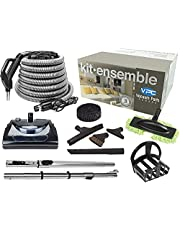 VPC Central Vacuum Electric Power Nozzle Accessory Kit | Premium Hose | Telescopic Wand with Deluxe Tool Set | Handle with 3 Way Button with Bonus Tools