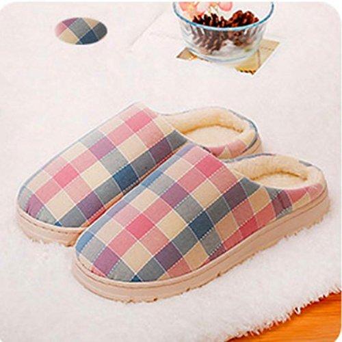 BZLine® Frauen Plaid Hausschuhe weibliche Baumwolle Schuhe Paar Schuhe Pink