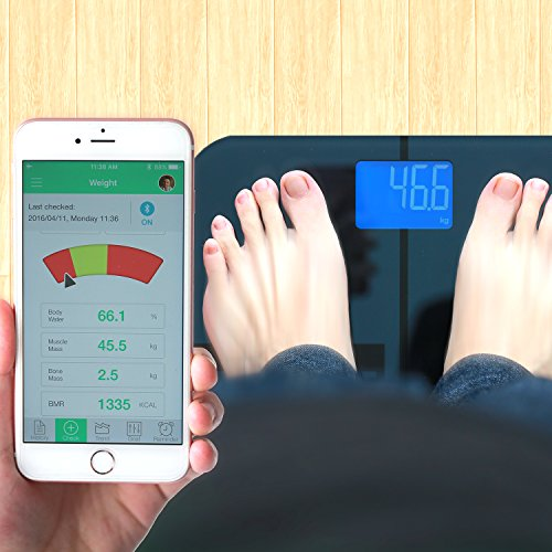 Smart Scale Digital LCD Display – Bluetooth Step On Technology, Simple App For The Best Wireless Health, Fitness Analyzer. Measure, Monitor Weight, BMI, Body Fat, Muscle, Bone Mass, Body Water & BMR