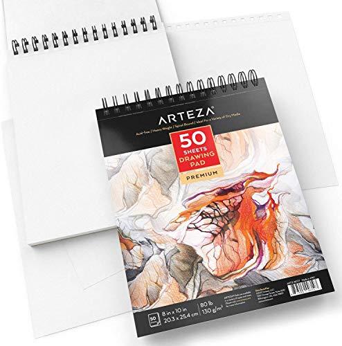 Arteza Cuaderno De Dibujo, Tamaño 8×10″ (20,3cm X 25,4 Cm), 50 Hojas De 130 Gramos Sin ácido, Encuadernado En Doble Espiral, Bloc Para Medios Secos, Ideal Para Lápiz, Carbón, Cera O Bolígrafo