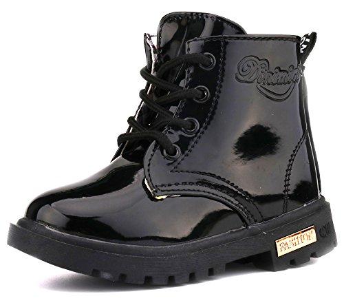 LONSOEN Boys Girls Waterproof Lace/Zip Up Kids Boots, Black,KDB002 CN21]()