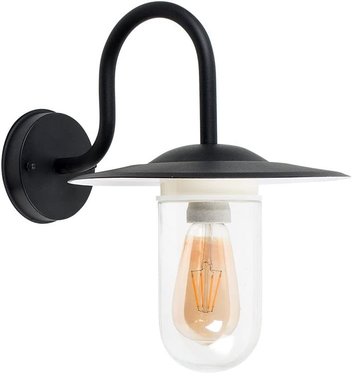 Modern IP44 Rated Black Metal Swan Neck Outdoor Lantern Wall Light with a Clear Glass Shade 3000K Warm White Complete with a 6w LED GLS Bulb