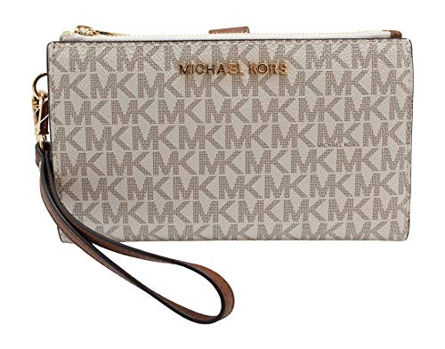 Michael Kors Jet Set Travel Double Zip Wristlet – Signature PVC (Vanilla PVC/Dark Acorn)