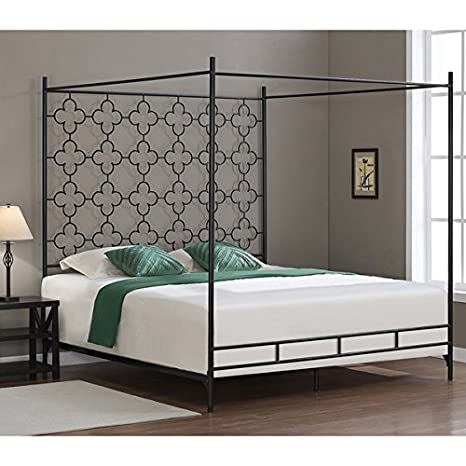 Metal Canopy Bed Frame King Sized Adult Kids Princess Bedroom Furniture  Black Wrought Iron Style Vintage Antique Look Hang Shear Curtains or  Mosquito ...