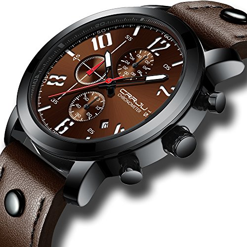 Fashion Watch Coffee Dial with Chronograph Feature 2018 Casual Men's Wristwatch