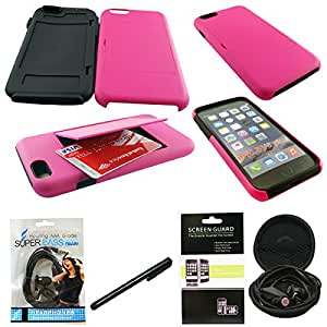 Mstechcorp(TM) Hybrid Credit Card Case Flip Stand Cover For Apple iPhone 6 Plus 5.5 inch + (Touch Screen Stylus) + (Hands Free Earphone With Carrying Case)+(Screen Protector) (CC HOT PINK BLACK)