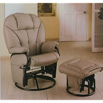 Amazon Com Bone Leatherette Glider Rocker Recliner Chair
