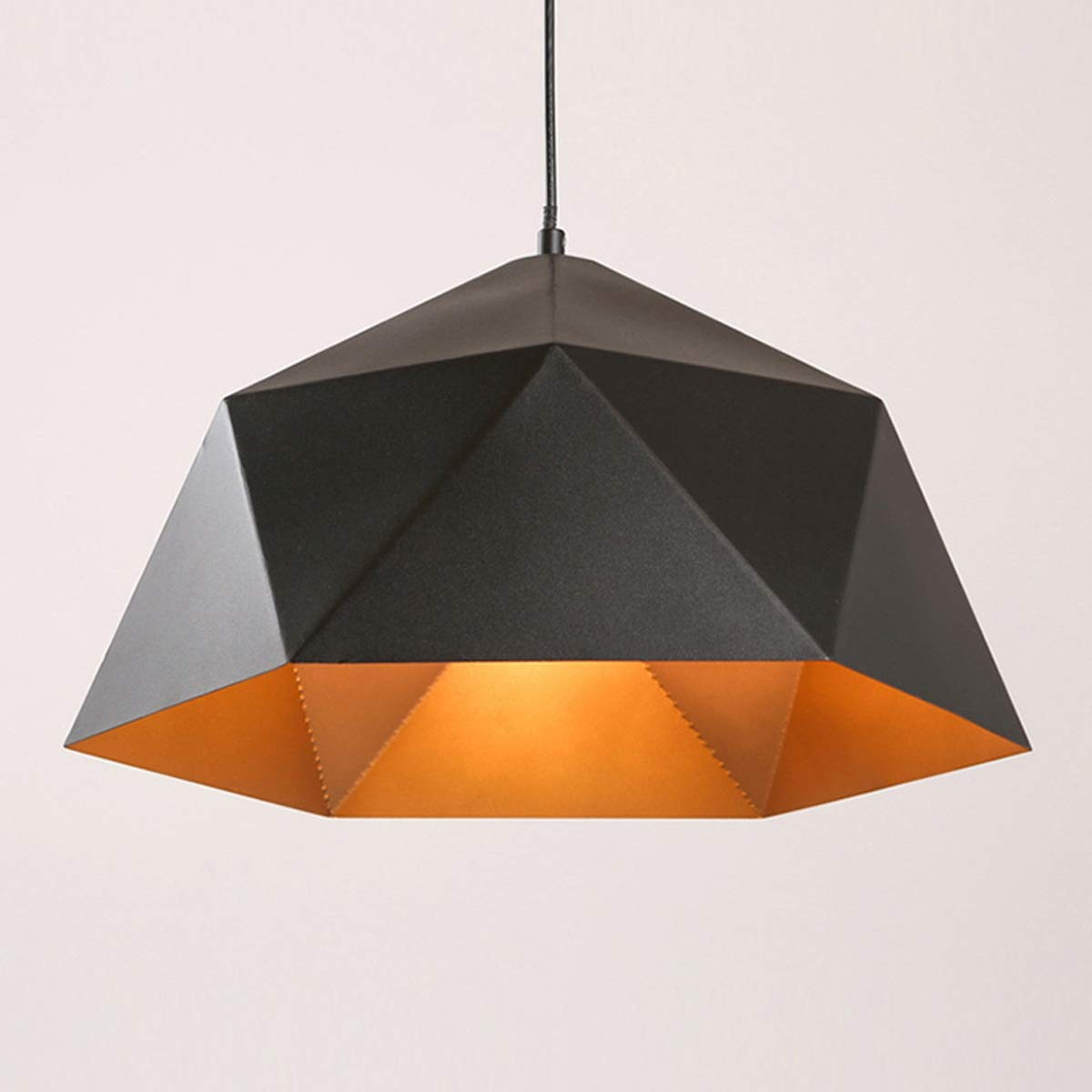 NANGE Wrought Iron Diamond Pendant Lamp, Industrial Wind Ancient Ways Geometry Pot Droplight,Cafe Restaurant Chandelier,E27(Without Light Source) (Color : Black, Size : AC 110V)