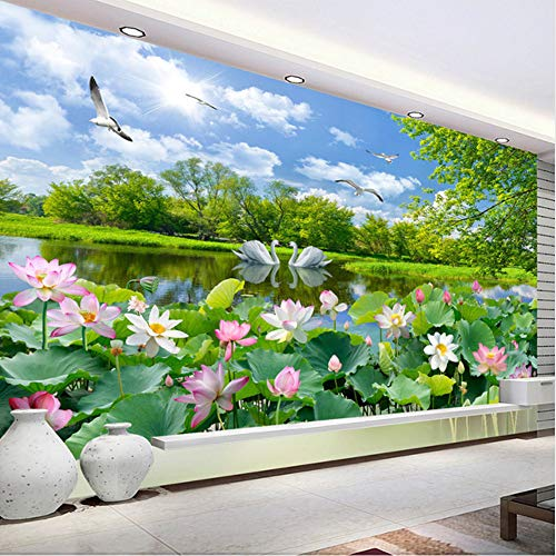 (hwhz Chinese Style Photo Wallpaper 3D Swan Lake Lotus Pond Mural Living Room Tv Sofa Background Wall Painting 3D -200X140Cm)