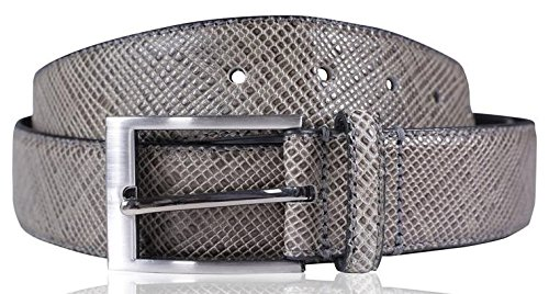Click Selfie New Mens 35mm Wide Real Reptile Skin Leather Pin Buckle (Reptile Buckle Belt)