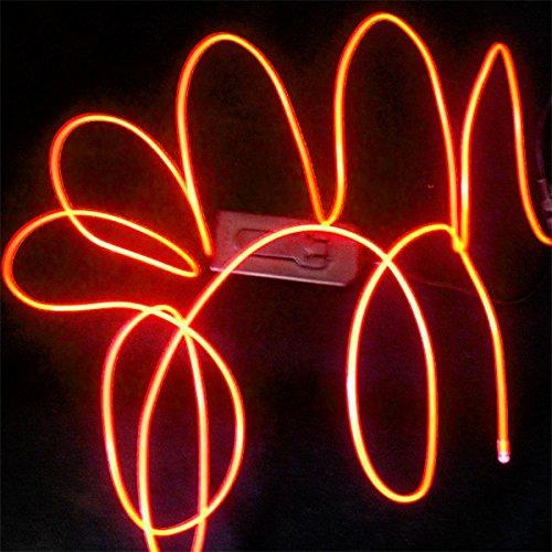 TDLTEK Neon Glowing Strobing Electroluminescent Wire /El Wire + USB Controller, Orange 9ft
